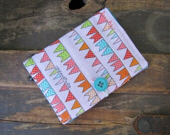 Bunting Tea Wallet ~ Pink and Turquoise Tea Wallet ~ Gifts for Tea Drinkers ~ Tea On The Go ~ Gifts Under 10 ~  Tea Organizer ~ Tea Holder