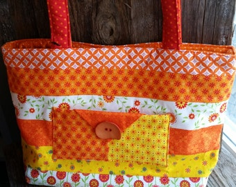 Yellow and Orange Floral Tote
