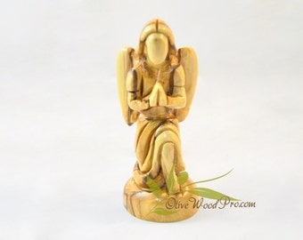 Olive wood statue carved angel from holy land