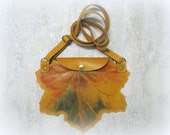 Leather Clutch maple leaf  leather purse  hand-painted  yellow leaf  Crossbody bag  small handbag  a gift for her  the best idea for a gift