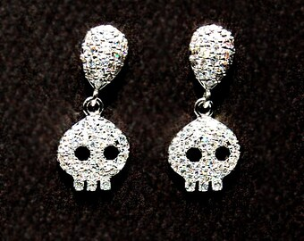 GOTH Wedding Jewelry. White Gold Pave CZ Skully Earrings 491ER. Luv Ya 2 Death Collection. Skull Earrings. CZ Bridal jewelry Halloween