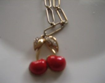 Bright CHERRIES JUBILEE NECKLACE With Very Nice Dressy Chain