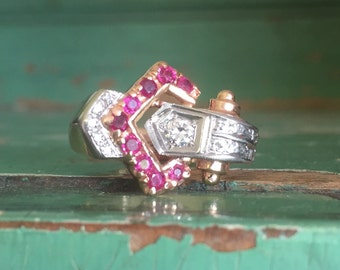 Art Deco 14K rose gold diamond ruby buckle ring Size 9