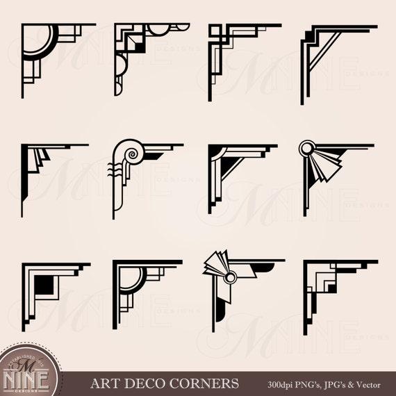 art deco corners clipart digital clip art instant download vintage