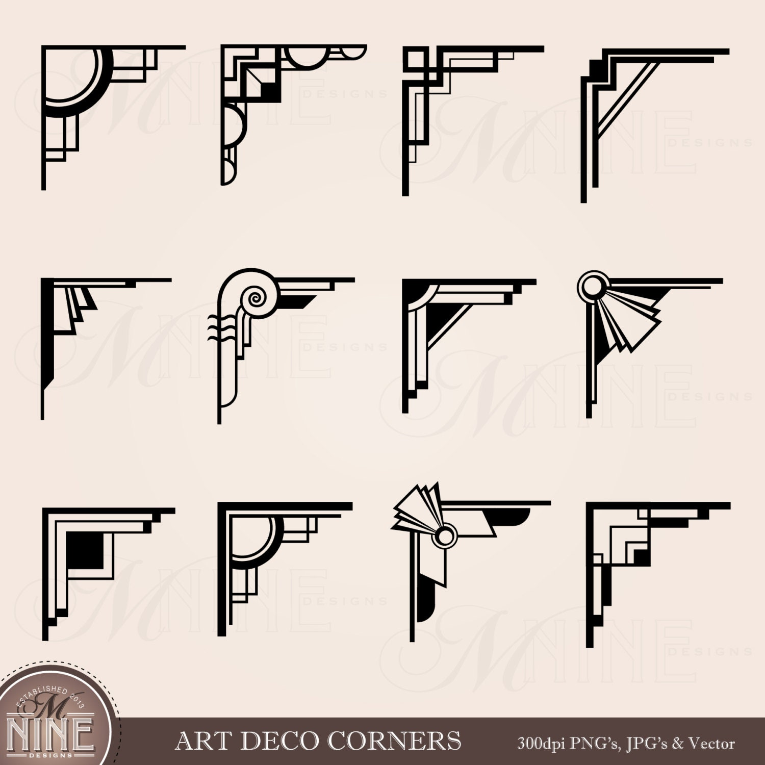 Art deco corners clipart digital clip art instant download for Design art deco