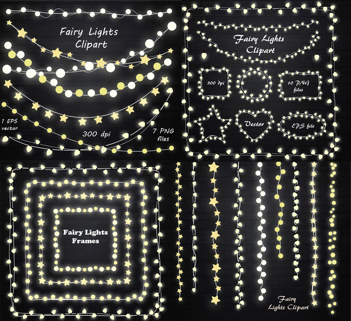 big set of fairy lights clipart string lights clipart fairy