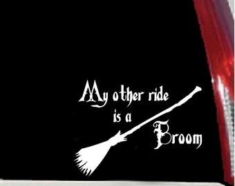 My Other Ride is a Broom - Vinyl Vehicle Decal - Indoor/Outdoor Sticker