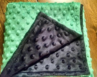"Black & Green Chevron Minky Baby Boy Blanket 29""x35"""