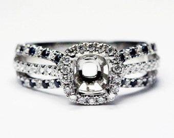 Unique Halo Sapphire & Diamond Engagement Ring Semi Mount