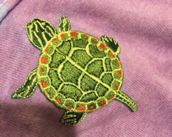 TURTLE PAINTED transfer, applique, Iron or Sew On patch by Cedar Creek Patch Shop
