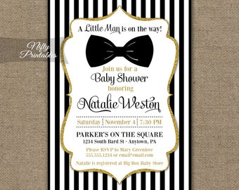Bow Tie Baby Shower Invitations - Printable Black Gold Baby Shower Invites - Boy Bowtie Baby Shower Invitation - Black and White Stripe BGL