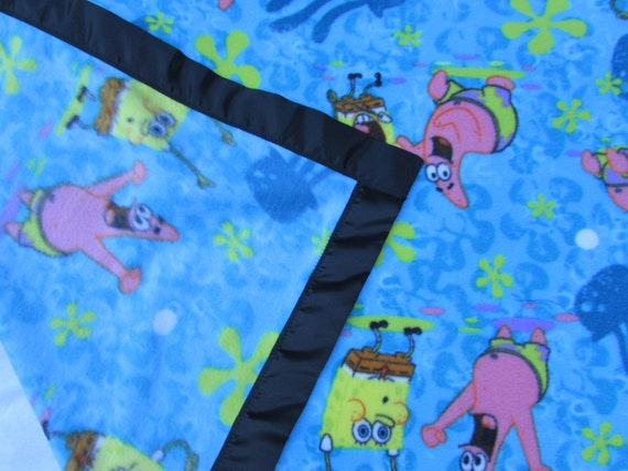 Sponge Bob fleece toddler blanket with satin edge