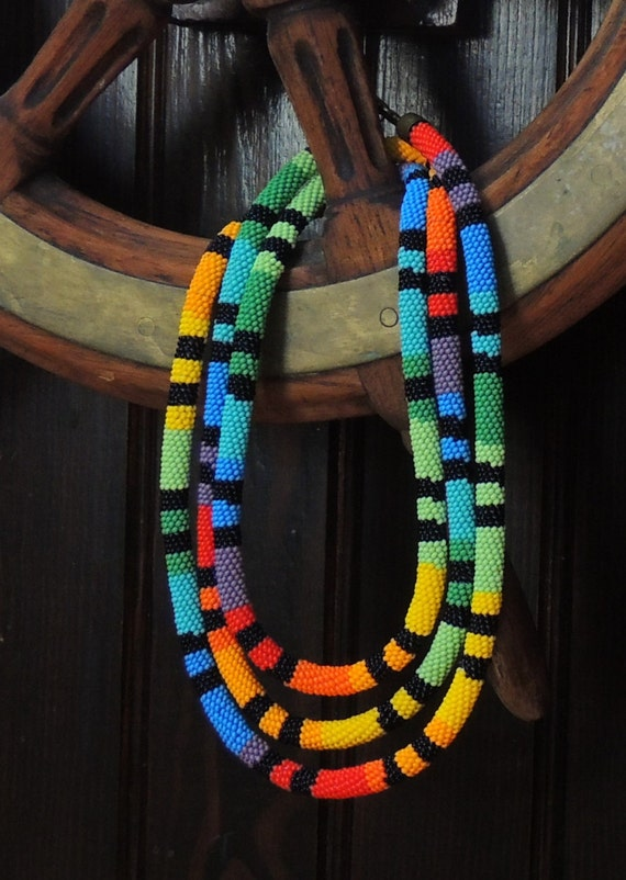 Bead necklace Rainbow Czech beads original gift unique extra long beauty summer