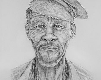 For him PORTRAIT Kalahari Bushman DRAWING San people monochrome Realistic wall art decor lifestyle Artwork Black Grey muddpuppie design gift