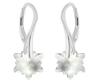 925 Sterling Silver Faceted Edelweiss Swarovski Crystal Leverback Earring