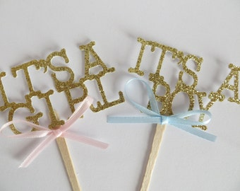 Baby shower cupcake toppers, cupcake topper, baby cake toppers, gold cake toppers, boy, girl, cake topper, baby shower, gender cake topper