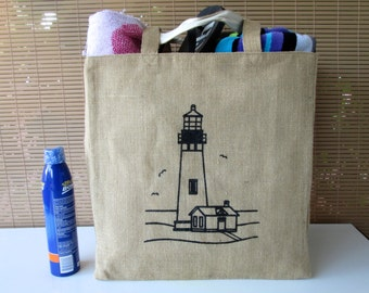 Tote Bag, Jute Tote, Lighthouse, Jute Tote with Cotton Lining, Reversible Tote Bag, Beach Tote, Beach Bag