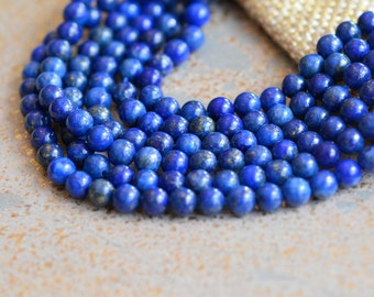 Tiny Round 4mm Lapis Lazuli Beads,Round Lapis Beads,4mm Lapis Beads,Cobalt Blue,Dark Blue,Ethnic Beads,Tibetan Beads,Half Strand,MAN17-0616