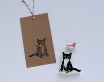 Cat and ribbon rubber stamp set. Kitten hand carved stamp. Handmade stamp. Unmounted stamp. Cute stamp for gift wrapping, scrap booking.
