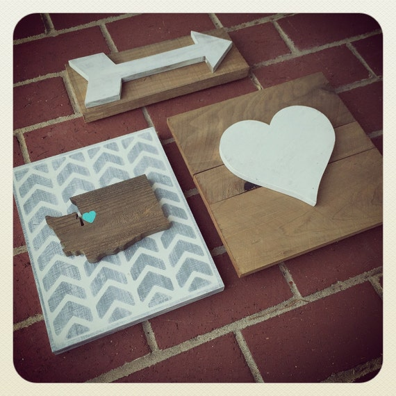 State Love Gallery Wall Sign Collection ~ Includes State Love Sign, Wooden Arrow and Heart Sign