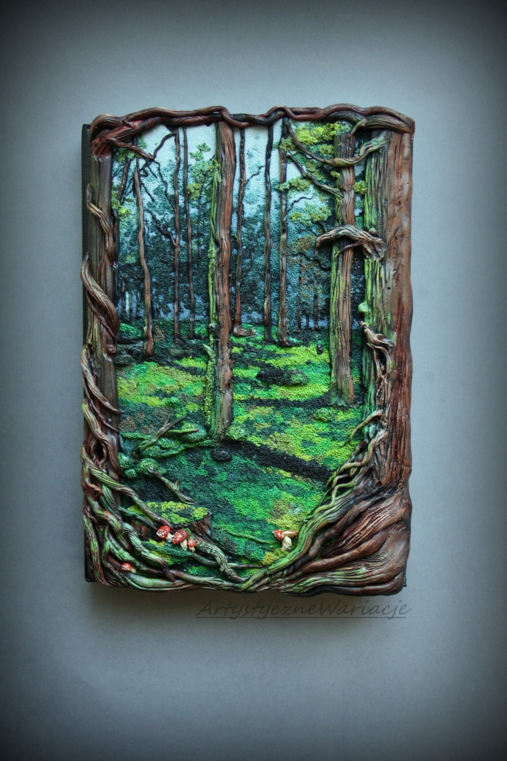 Book Cover Watercolor Paint : Misticla forest book polymer clay cover notebook
