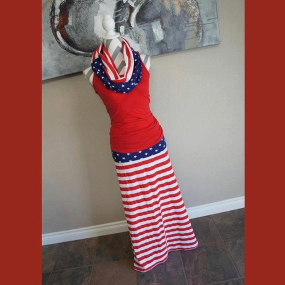 USA American Flag Long Maxi Skirt Optional by PinkPearBoutique