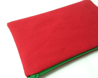 Red Canvas Zipper Pouch. Choose your Zipper and Lining. Makeup Bag, Pencil Case. Cosmetic Pouch. Yellow, Green, Gingham, Check.