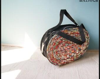 Original makkireQu, bag made of newspapers and felt, unique, stylish, eco-friendly style