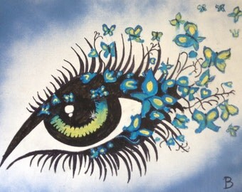 """16""""x20"""" Abstract Painting of Woman's Eye with Butterflies"""