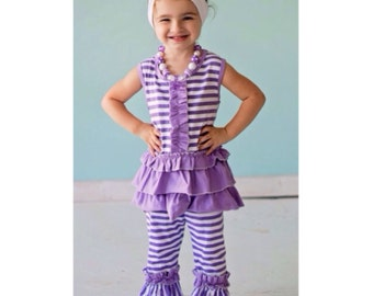 Lilac Ruffle 2 Piece outfit with matching headband and bubble necklace