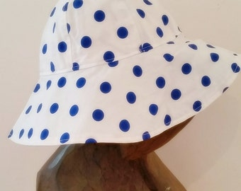 Toddler Sun Hat, Italian 100% cotton , White with Blue Dots, Sizes 2T to 4T