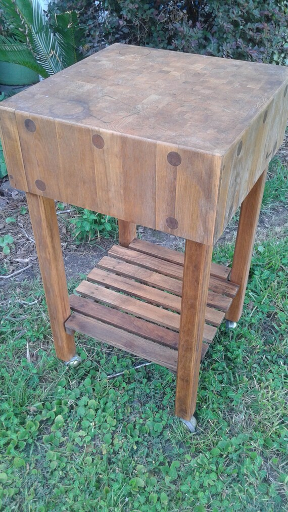 Vintage Kimball Butcher Block Kitchen Island On Casters