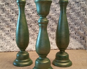 Wooden Candle Sticks - Set of 3