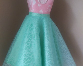 Tulle on lace skirt