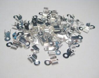 50pcs Bright Silver Plated Necklace Cord Crimp End Caps Cord End 9x4mm (No.896)