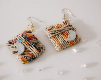 Earrings ecological handmade recycled paper