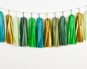 Woods Fairy Tassel Garland, Peter Pan Party, Peter Pan Birthday, Green Garland, Green Tassel Garland, Green First Birthday, St Patrick's Day