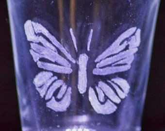 Butterfly hand etched shot glass - butterfly, hand etched, engraved, shot glass, home decor, glassware, barware, gift, holidays,