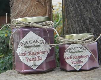 Large BLACK RASPBERRY VANILLA Soy Candles! 12oz raspberry candle, vanilla candle, fruity candle, raspberry vanilla candle, bath and body
