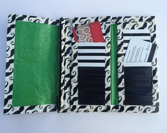 Duct Tape Trifold Wallet with Mustaches