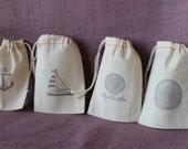 Set of 10 Ocean theme small muslin bag with drawstring.3x5 muslin sack beach party favor.Sail boat, starfish, anchor, seashell beach wedding