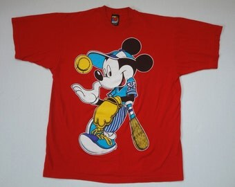 Mickey Mouse Baseball T-Shirt Vintage 1990s XL Red Disney