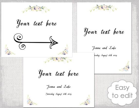 Printable Wedding Sign Templates Eden Rustic Flower Garland Editable YOU EDIT Word Digital Download