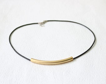 Gold Long Curved Bar Tube Necklace.Geometric Jewelry.Industrial Necklace.Minimalist.Modern Simple Jewelry.