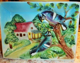 PAIR of Vintage  Porcelain Wall Art of Cottages and Birds