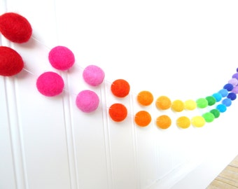 Garland, Rainbow Garland, Party Decor, Pom Pom Garland, Felt Ball Garland, Nursery Decor, Felt Bunting, Rainbow Decor, Eclectic Nursery