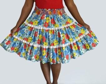 70's Handmade Floral Skirt with Shirred Elastic Waistline/ Tiered Ruffles