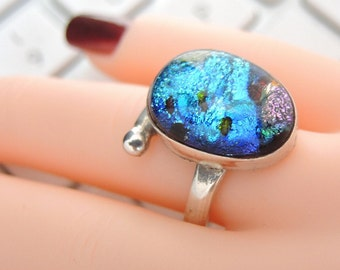 Captivating ADJUSTABLE Ring DICHROIC Glass 925 Sterling Silver Size 6-10 dr11