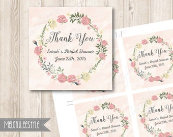 PINK ROSES Bridal Shower Favor Tags, Personalized Flowers Thank You Tag, Floral, Flower Wreath, Printable Wedding Stickers, Labels