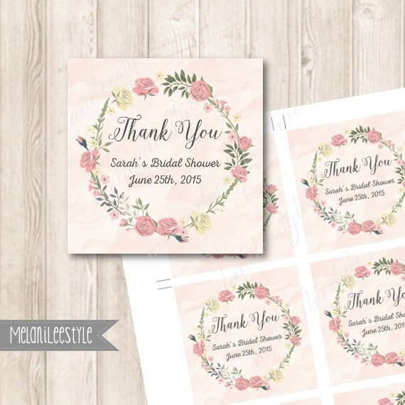 PINK ROSES Bridal Shower Favor Tags Personalized Flowers